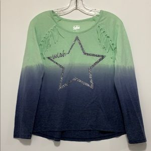 Justice Girls Blue & Green Star Long Sleeve Shirt